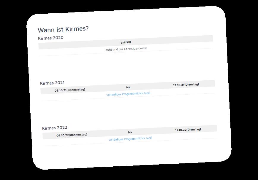 Der Termin für Kirmes 2022 steht fest 🎉 Mit (vorläufigem) Festprogramm.